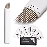 CRYSTALUM® Microblading Eyebrow Blade 12 or 14 Pins Needles Tattoo Tattooing Blades Prongs Semi Permanent Make Disposable Needles Makeup For Single Use QUANTITY 10, 20 or 50 (14PIN - 5 Blades)