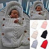 Neugeborenes Babydecke Wrap Swaddle Decke, SOONHUA Baby Kinder Kleinkind Wolle Knit Decke Swaddle Schlafsack Schlaf Sack Stroller Wrap für 0-12 Monate Baby (White) Bild 1