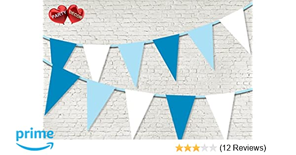 Light Green Aqua And White Stripes Personalised Birthday Party Bunting Banner