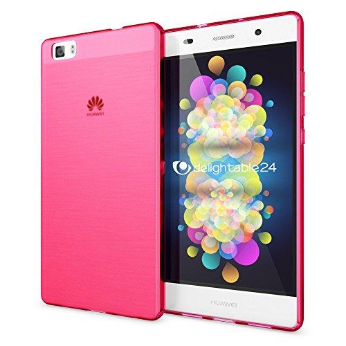 delightable24 Cover Case in Silicone TPU per Smartphone HUAWEI P8 LITE - Matte Pink Rosa