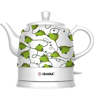 IBAMA Bouilloire électrique en céramique, Cordless Water Teapot 1.2L