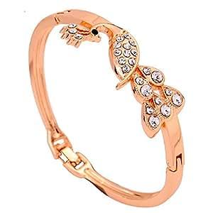 Bling N Beads Designer Partywear 18K Gold Plated Adjustable Bracelet Peacock Mayur Bangle for women