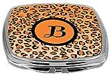 Rikki Knight Compact Mirror, Letter B Initial Orange Leopard Print