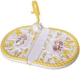 Ineffable Plastic Hanger with 28 Pegs - Baby Diaper Nappy Clothes Hanging Dryer Rack with Clips - Portable Fold-able Travel Laundry Accessory - Yellow