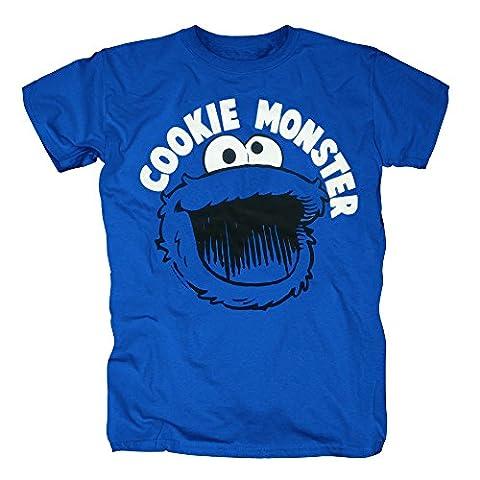 TSP Sesamstrasse - Krümelmonster Cookie Monster Smile T-Shirt Herren M Königsblau