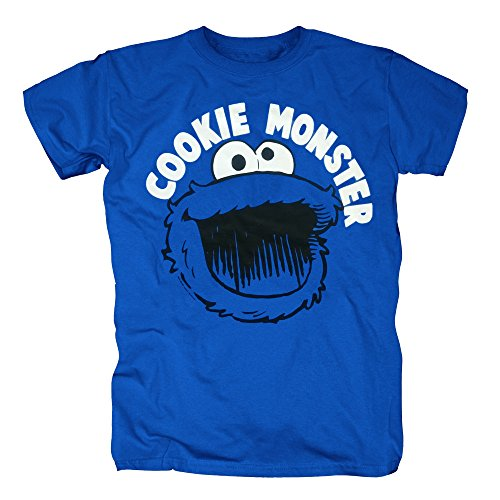 TSP Sesamstrasse - Krümelmonster Cookie Monster Smile T-Shirt Herren M (Kostüme Cookie Monster)