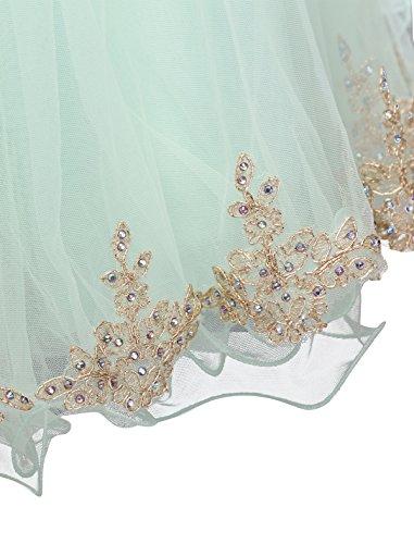 Dressystar Robe femme, Robe de bal courte Sans manches,appliques perlées, à fleur en Tulle Menthe