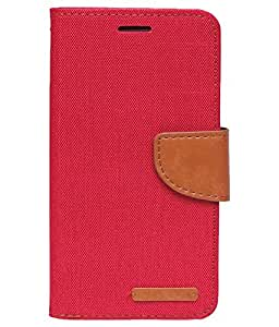 Aart Fancy Wallet Dairy Jeans Flip Case Cover for MicromaxA104 (Red) By Aart Store