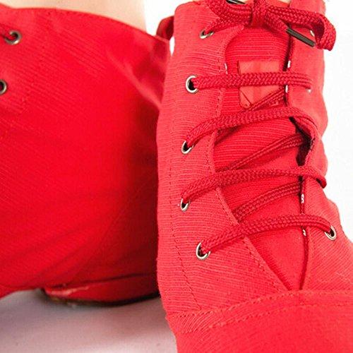 ELEAR® Unisex Erwachsene Kinder Reine weiche Canvas Toe Ballet Tanzschuhe Schnürschuhe Jazzschuh Rot