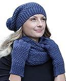 Winter Kombi Set aus Winter Schal, passender Strickmütze/Beanie und wahlweise Handschuhe oder Handwärmer, 3-tlg, versch. Farben, Winterset Farbe/Zusammensetzung:Blau mit Handschuhen