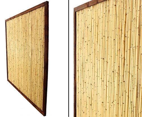 """Bambuswand """"KohSamui Klassik"""" 180x180cm, dunkler Rahmen mit Bambusrohr Füllung – Sichtschutzwand Sichtschutzelement Sichtschutz Gartenzaun Zaunelement Sichtschutzwände Gartenzäune"""
