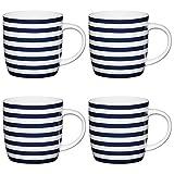 Kitchen Craft Nautischer StreifenKlaßische Bedruckte Faßbecher,425 ml, Porzellan, Blau/weiß, 12.4 x 8.9 x 9 cm, 4 -Einheiten