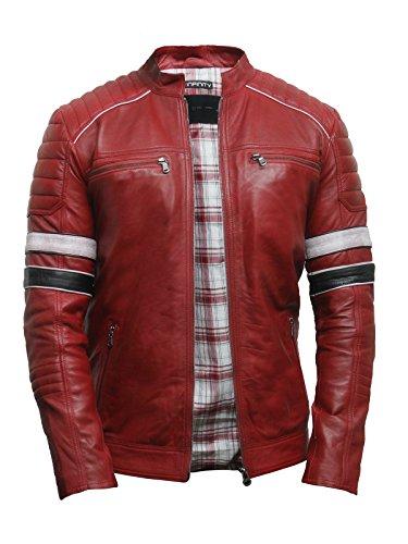Brandslock Männer Casual Rot Leder Biker Laufjacke Lamm Nappa Leder Bomber Jacke (XL, Rot) (Lammfell-leder-bomber-jacke)