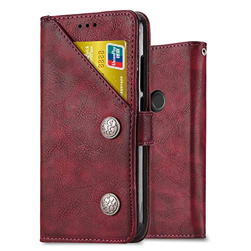 Ferilinso Cover for Xiaomi Redmi 7 PRO / Xiaomi Mi Play, Cover Retro Leather Case with Credit Card Slot ID Multifunction (Retro Red)