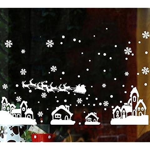 Dimensione massima di una vetrata negozi Natale Wall stickers Natale adesivo del vetro , bianco ,200*125cm