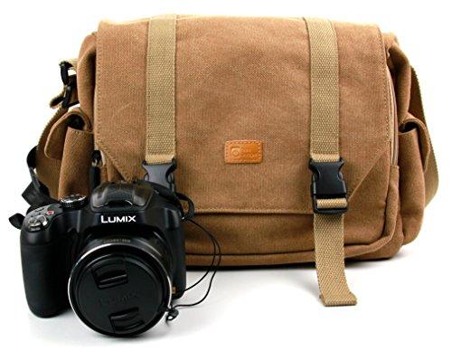 Sacoche en toile beige pour Panasonic LUMIXDMC-FZ200, FZ72EF, FZ1000 et LUMIX G DMC-GH4 et G7, G70 appareils photo SLR/Bridge et ses accessoires - compartiments modulables DURAGADGET