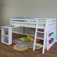 Homestyle4u 1423 Kinder Hochbett Kiefer massiv , Etagenbett mit Lattenrost Leiter und Schreibtisch , 90x200 cm , Weiß preisvergleich bei kinderzimmerdekopreise.eu