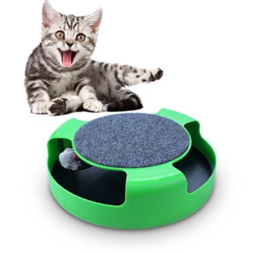 OWUDE Cat Interaktives Training Spielzeug mit einem laufenden Mäuse und eine Kratzteller Lernspielzeug Fangen Sie die Maus - Green