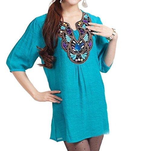 QIYUN.Z Les Femmes En Coton a Manches 3/4 Broderie Collier Melange V Cou Shirt Loose Blouse Haricots Verts