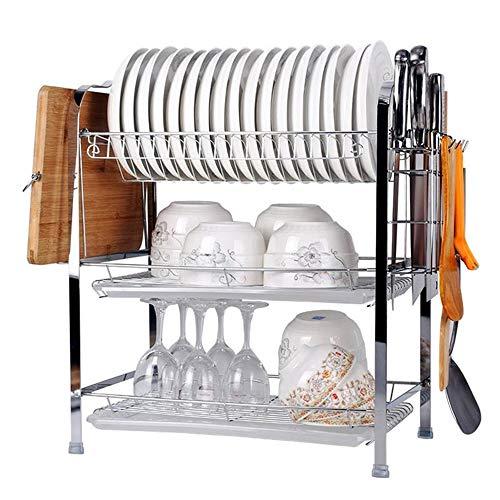 WSN GeschirrabtropfständerAbflussregal für Küchengeschirr, 3-lagiger Abflussregal aus verchromtem Edelstahl, Abwaschtrockner mit Entwässerungswerkzeug, Metallfarbe installieren