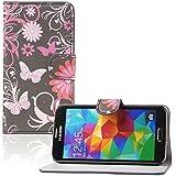 tinxi® Kunstleder Tasche für Samsung Galaxy S5 Schutzhülle Flipcase Schale Cover Etui Skin Standfunktion mit Karten Slot Schmetterling