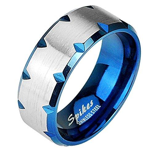 Mianova Band-Ring Edelstahl mit Tribal Cut Herrenring Damenring Partnerring Trauring Damen Herren Silber Blau Größe 62 (19.7) Breit 8mm