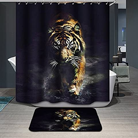 Beddingleer 3D TIGER Shower Curtains 180cm X180cm Waterproof Mildewproof Fabric Bathroom Shower Curtain with 12 Hooks (10)