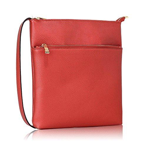 Damen Kreuz Körper Handtaschen Damen Faux Leder Tasche Vorderseite Reißverschluss Tasche Einstellbar Lange Schulter Starp Gold Metall Arbeit Einschließlich Zwei Öffnen Rot