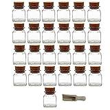 Viva Haushaltswaren - 25 x Gewürzglas eckig 120 ml, Glasdose mit Korkverschluss als Gewürzdose & Vorratsdose für Gewürze, Salz etc. verwendbar (inkl. kleiner Holzschaufel 7,5 cm)