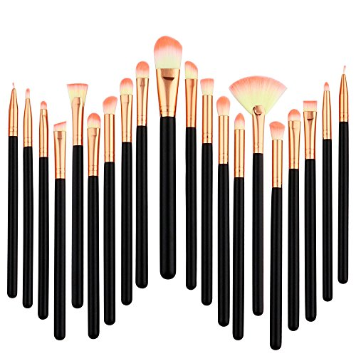 Siswong Make-up-Sets, 20 StüCke Pro Make-Up Pinsel Set Foundation Puder Lidschatten Eyeliner Lip...