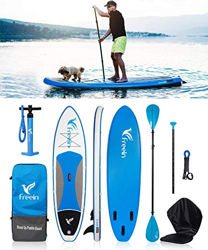 Freein Sup 305x79x15cm Aufblasbar Stand up Paddle Board Set, Surfboard/Kajak für Anfänger und Profis, Inkl. Alu-Paddel, Kajaksitz, Pumpe, Rucksack, Broschüre, Leine MEHRWEG