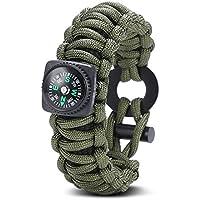 Gonex-Cinturino di sopravvivenza con bussola Paracord 550/raschietto/attrezzo da pesca/-Accendifuoco per il trekking, il Canotage, la caccia