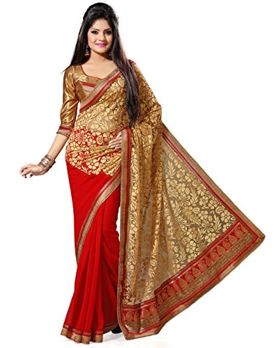 Deepika Saree Faux Georgette Saree (G-311 _Red)
