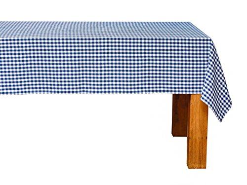 FILU Tischdecke 140 x 140 cm, Blau/Weiß (Farbe und Größe wählbar) Tischtuch aus 100% Baumwolle, elegant kariert und hochwertig durchgefärbt im skandinavischen Landhaus-Stil