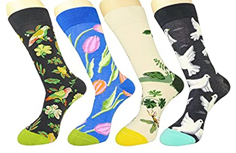 FULIER Mens 4 Pack Colorful Funky Cotton Rich Dress Calf Socks,Comfortable,Breathable,Smart Design Crew Socks (New Fashion)