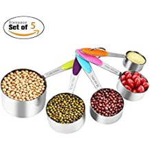 Measuring Cups,Rixow Solid Sturdy Stainless Steel Measuring Cups Set- 5 PCS 1/8 cup 30ml, 1/4 cup 60ml, 1/3 cup 80ml, 1/2 cup 125ml and 1 cup 250ml for Kitchen Cooking