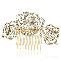 Ever Faith - Rosa Flores Claro Cristal Austriaco Peineta Para Pelo Oro-Tono A12035-3