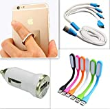 #9: Super saver combo of Car Charger + 4-in-1 USB Cable + Mini USB Foldable LED Light stick + Ring mobile holder : Total 4 products