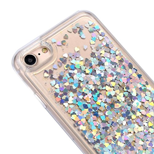 Cover per iPhone 7, Tpulling Custodia per iPhone 7 Case Cover Copertura ultra-sottile di cromo di lusso di Quicksand multi colore per il iPhone 7 4.7 pollici (Sky Blue) Silver