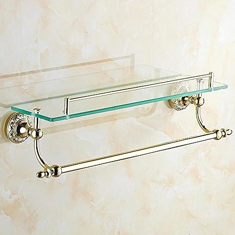 YUPD@Accessori bagno stile europeo di trucco dell'oro scaffale vetro bagno