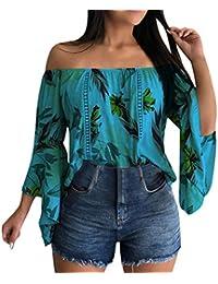 Qingsiy Blusas Camisetas Mujer Fuera del Hombro, Camisetas Mujer Verano Blusa Mujer Elegante Camisetas Mujer