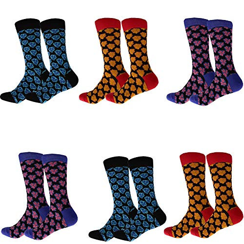 Acryl Multi-sport-socken (ARABINXIN Lustige Herren-Socken, bunt, gemustert, witzige Crew-Socken für Herren, 6 Packungen)