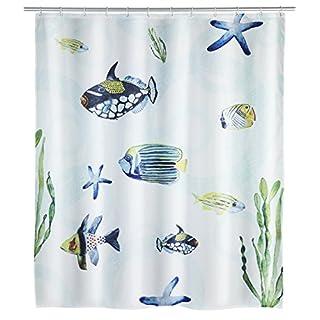 Wenko Duschvorhang Aquaria waschbar, wasserabweisend mit 12 Duschvorhangringen, Polyester, Mehrfarbig, 180 x 200 x 0.1 cm