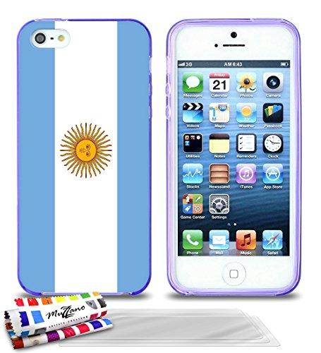 Ultraflache weiche Schutzhülle APPLE IPHONE 5 [Flagge Argentinien] [Rosa] von MUZZANO + 3 Display-Schutzfolien UltraClear + STIFT und MICROFASERTUCH MUZZANO® GRATIS - Das ULTIMATIVE, ELEGANTE UND LANG Lila + 3 Displayschutzfolien