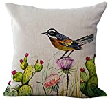 ChezMax Bird Throw Pillow Insert Office Chair Seat Back Stuffing Cushion Cotton Linen