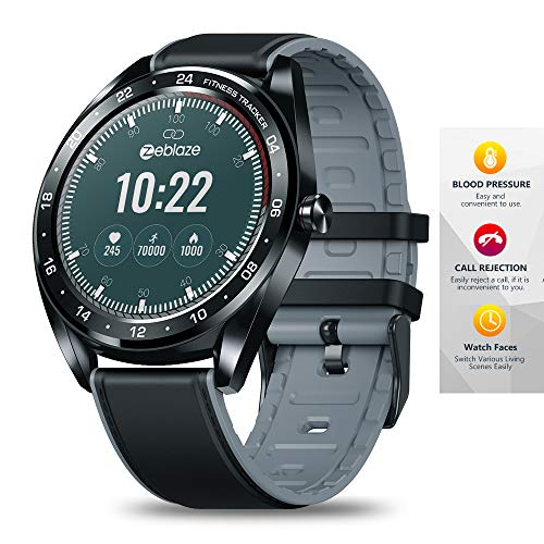 Meteor fire Bluetooth Fitness Tracker 1,3 Zoll IPS Farbe Touchscreen Smart Watch Blutdruck Pulsmesser Unterstützung Schrittzähler Anruferinnerung,Black -