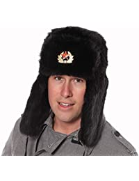 Black Faux Fur Russian Ushanka Hat. 59cm Trapper hat removable soviet badge