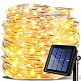 LED Lichterkette,KINGCOO Wasserdicht 39 ft 12 m 100 LED führt zu Energie Solar Schlauch Soft Tube Rope Kupferdraht, Weihnachten, Zimmerdecke-Lichter für die Hochzeit Outdoor Garden Party(warmWeiß)