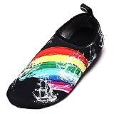 Kfnire Wasser Schuhe, Wassersport Schuhe Barfuß Schnell Trocken Aqua Yoga Socken Slip-On für Männer Frauen Kinder (EU44-45, A)