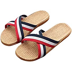 Chanclas de mujer verano, ❤️Ba Zha Hei chanclas de Piel Abiertas Para Mujer sandalias Zapatillas de lino antideslizantes a rayas de mujer zapatos Baño de mar shoes women zapatos (38, Rojo)